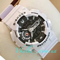 Спортивные мужские часы Casio G-Shock GA-110 белые с черным дисплеем
