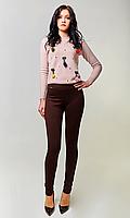 Женские лосины имитирующие брюки №1681 (красно-черные)