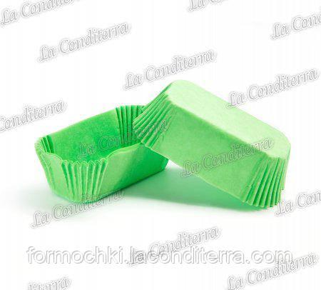 Бумажные формы для эклеров зеленые Р-8 (80х35 мм, высота - 30 мм), 2000 шт.