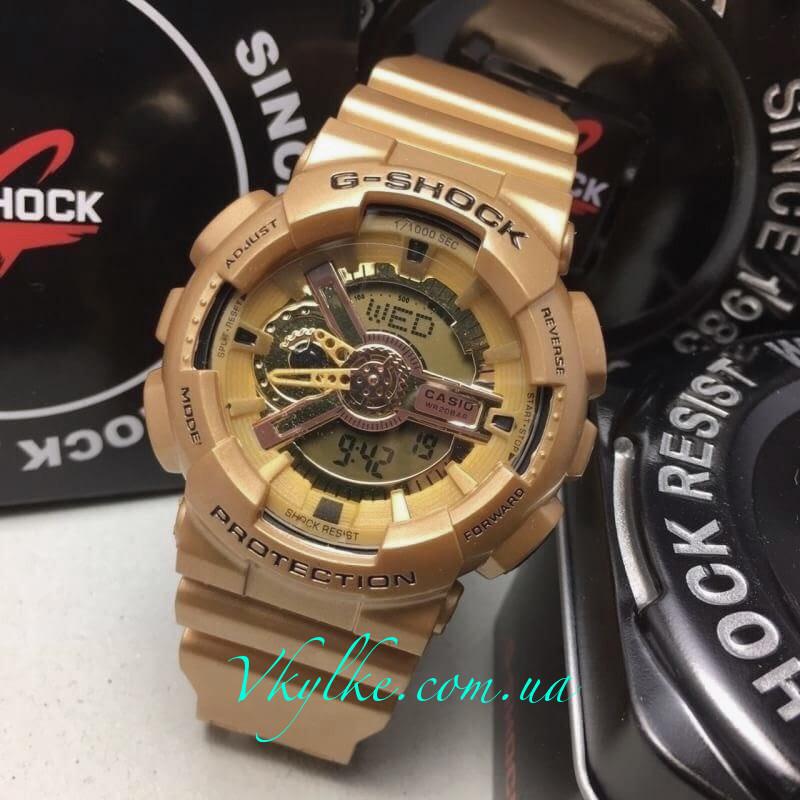 Спортивные мужские часы Casio G-Shock GA-110 золотые