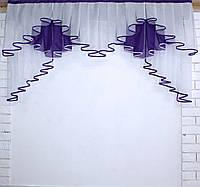 Ламбрекен на карниз 1.5м.модель №93. Цвет белый с фиолетовым