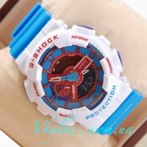 Спортивные мужские часы Casio G-Shock GA-110 голубые с белым