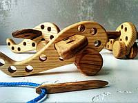 Деревянная игрушка-шнуровка Самолётик для развития мелкой моторики