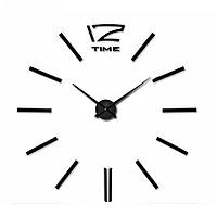 Большие настенные 3Д часы 3D часы DIY Clock 70-150см 004В (Палочки Черные)