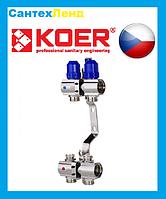 Коллекторный блок с термостатическими клапанами KOER для на 2 контура