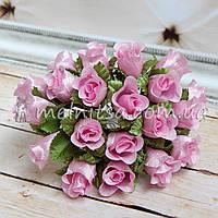 Букет розочек ткань, 2 см, св.розовые (10 шт)
