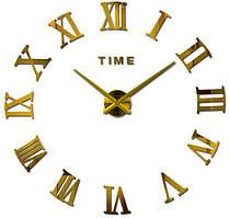 Большие настенные 3Д часы Римские Золото 3D DIY Clock часы 70-150см 003G