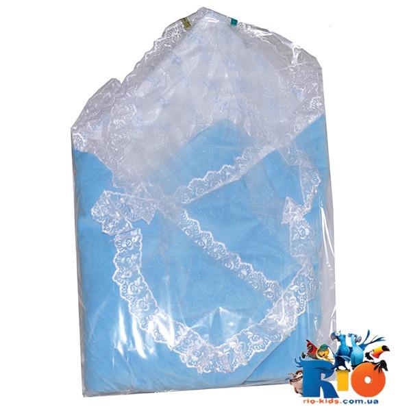 Детский конверт на выписку с фатиновой накидкой для новорожденных, 1 ед. в упаковке