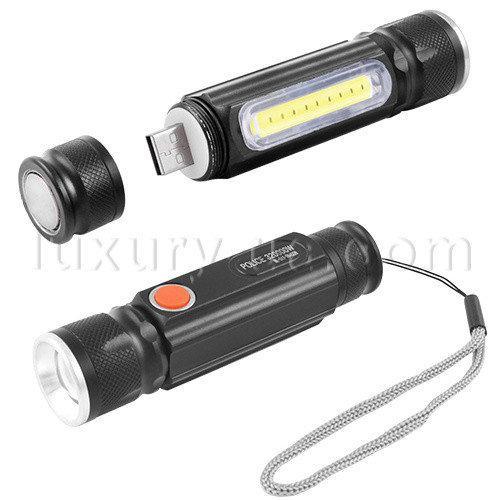 Фонарь ручной Police BL-517/616-T6-COB, zoom, встроен.аккум., ЗУ USB, магнит