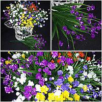 Цветной мелкоцветик, материал - пластик, выс. 40 см., 7 веточек, 48/38 (цена за 1 шт. + 10 гр.)