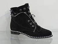 Стильные молодежные ботинки замшевые на шнуровке, фото 1