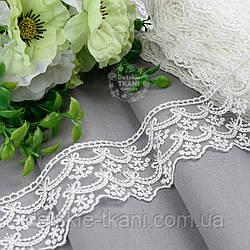 Кружево кремового цвета с вышивкой шёлковой нитью с двойными волнами, 6 см, № 5266