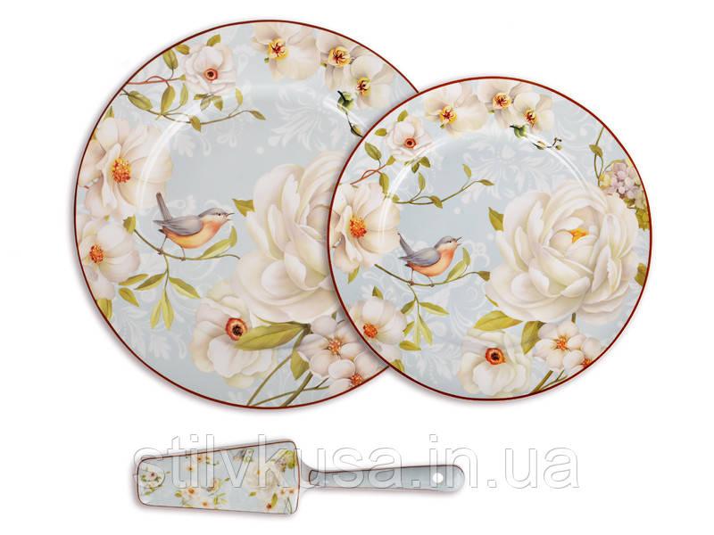 Набір тарілок з блюдом для торта Райський сад,8пр