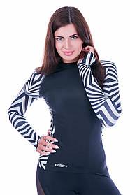 Рашгард женский Totalfit RW1-ST6 L черный,белый