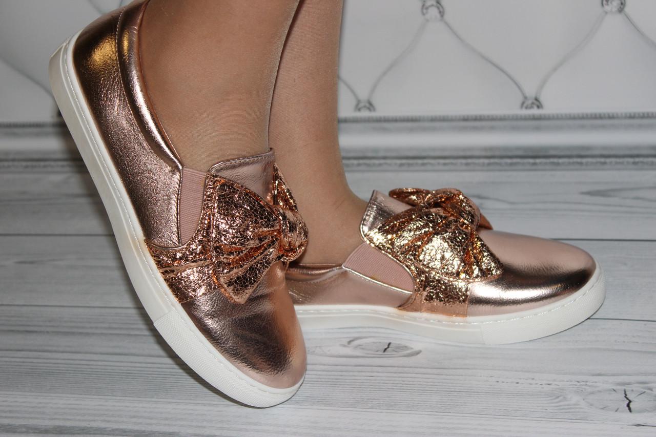 Женские слипоны цвет золото