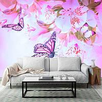 "3D фотообои ""Бабочки и орхидеи над водой"""