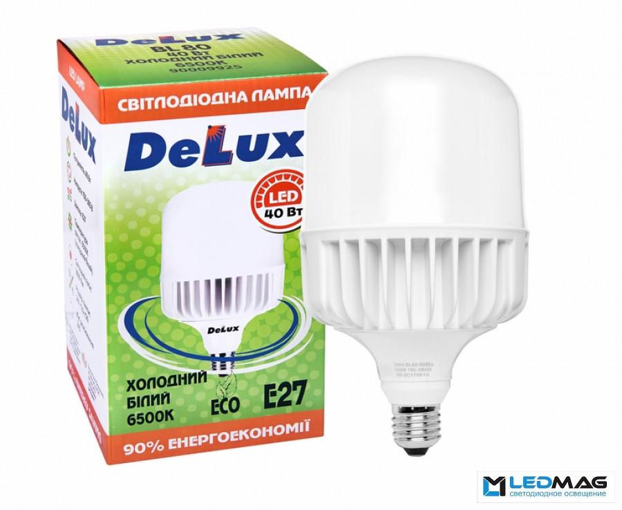 Светодиодные мощные LED лампы DELUX 40Вт BL80  Е27 Холодный белый 6500К промышленные