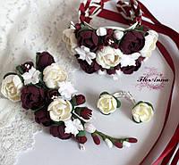 """Свадебный комплект украшений """"Элегантный бордо""""(заколка+серьги+браслет) Свадебная бижутерия"""