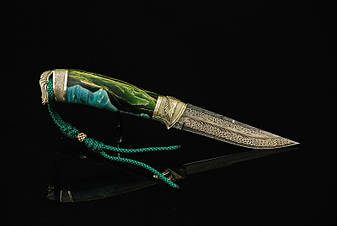 """Нож ручной работы """"Весенний зов"""", мозаичный дамасск (наличие уточняйте), фото 2"""