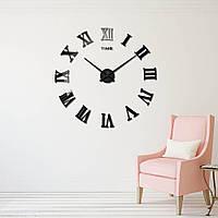 Большие дизайнерские 3D часы 003B (Римские цифры Черные), фото 1