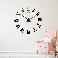 Большие дизайнерские 3D часы 003B (Римские цифры Черные)