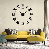 Большие настенные 3Д часы дизайнерские 3D DIY Clock часы 003B (Римские цифры Черные) 70-150см