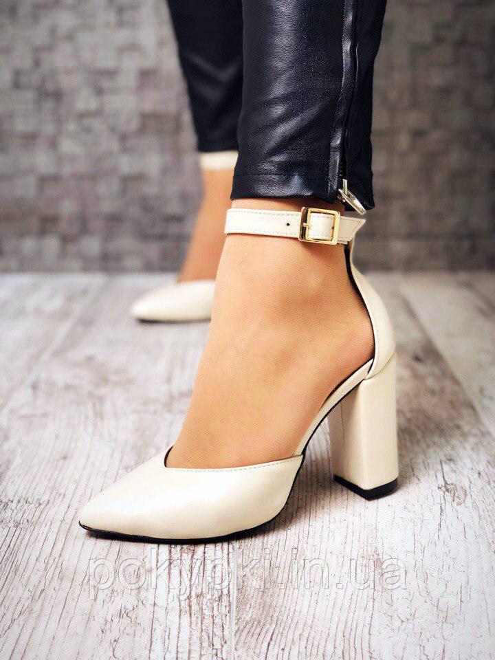 bbc62389cb67d2 Купить Туфли женские кожаные бежевые заостренный носок удобный ...