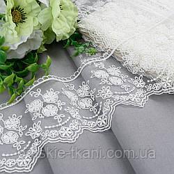 Кружево кремового цвета 10 см с вышивкой шёлковой нитью на сеточке, № 52809кр