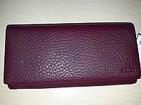 Кожаный кошелек женский бардовый высокого качества низкая цена