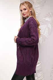 Кардиган вязаный комфортный размер универсальный 50-56 фиолетовый