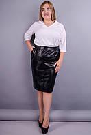 Марго. Шкіряна жіноча спідниця великих розмірів. Чорний розміра 44 7c9a2d974aa68