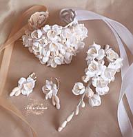 """Свадебный комплект украшений """"Воздушный айвори""""(серьги+браслет+заколка). Все для свадьбы"""