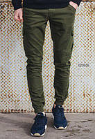 Брюки штаны карго мужские с карманами Staff cargo Haki modern