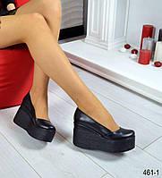 Туфли на черной платформе материал натуральная кожа, цвет черный