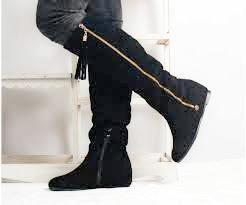 Сапоги зимние без каблука,низкий ход,маленький каблук,танкетка