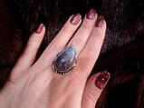 Красивое кольцо с натуральным камнем лабрадор в серебре. Кольцо с лабрадором 17,5 размер Индия, фото 5