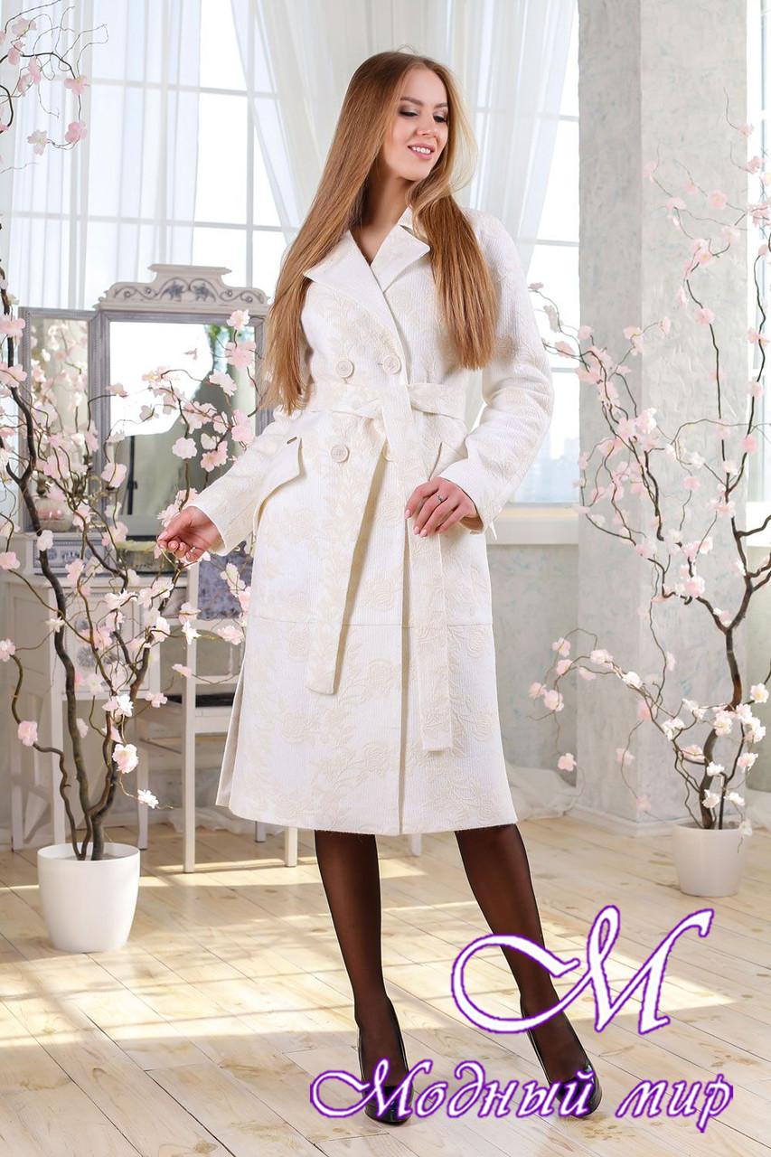 Женское белое демисезонное пальто (р. 44-54) арт. 983 Тон 50