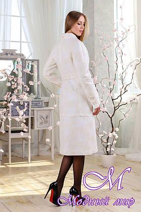 Женское белое демисезонное пальто (р. 44-54) арт. 983 Тон 50, фото 2