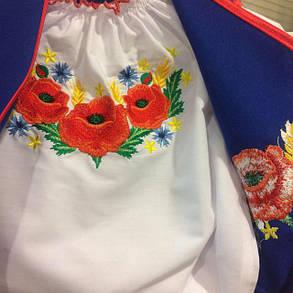 Костюм вышиванка для девочек голубой, фото 2