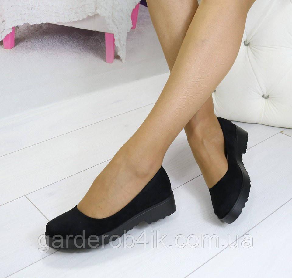 Женские туфли на низком ходу, тракторная подошва