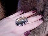 Кільце з натуральним каменем лабрадор в сріблі 18,5 розмір. Кільце з лабрадором Індія, фото 4