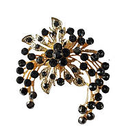 Брошь (брошка) Цветок Золотая с черными стеклянными стразами 5x6 см 1 шт