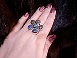 Яркое кольцо цветок с натуральным камнем лабрадор в серебре 17 размер. Кольцо с лабрадором., фото 4