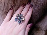 Яркое кольцо цветок с натуральным камнем лабрадор в серебре 17 размер. Кольцо с лабрадором., фото 3