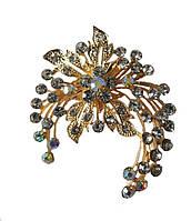 Брошь (брошка) Цветок Золотая с белыми стеклянными стразами 5x6 см 1 шт