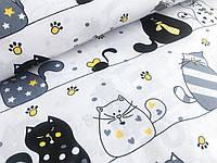 """Польская хлопковая ткань """"коты мартовские на белом с желтыми галстуками"""""""