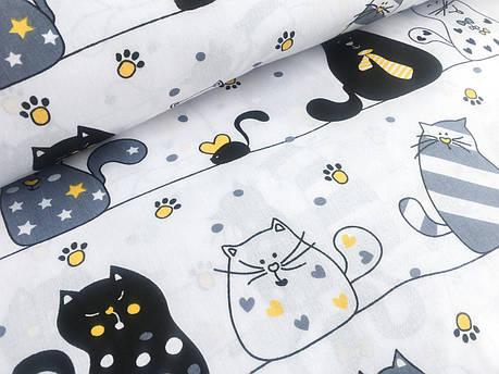 """Польская хлопковая ткань """"коты мартовские на белом с желтыми галстуками"""", фото 2"""