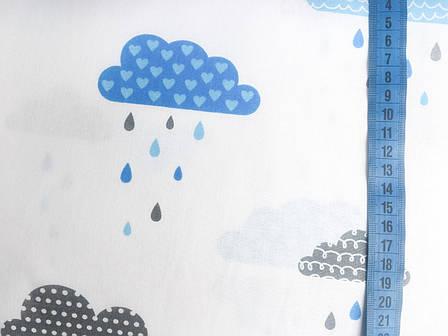 """Польская хлопковая ткань """"тучки серо-голубые на белом с каплями"""", фото 2"""