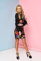 """Женственное нарядное платье выше колен с цветочным притом и оригинальными длинными рукавами """"Шери"""" 1"""