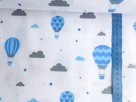 """Польская хлопковая ткань """"шары голубые на белом"""", фото 2"""